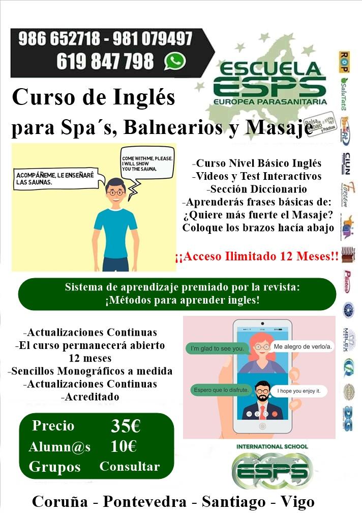 Curso de inglés básico para fisioterapia, masaje, balnearios, estética