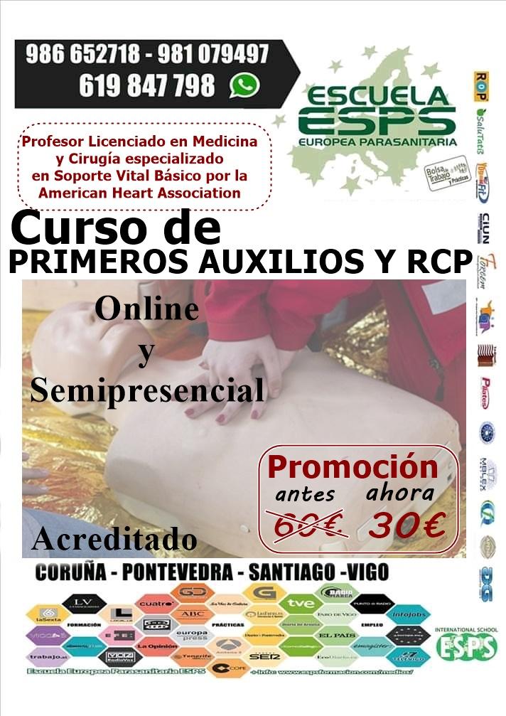 Curso de primeros auxilios online con prácticas en Coruña