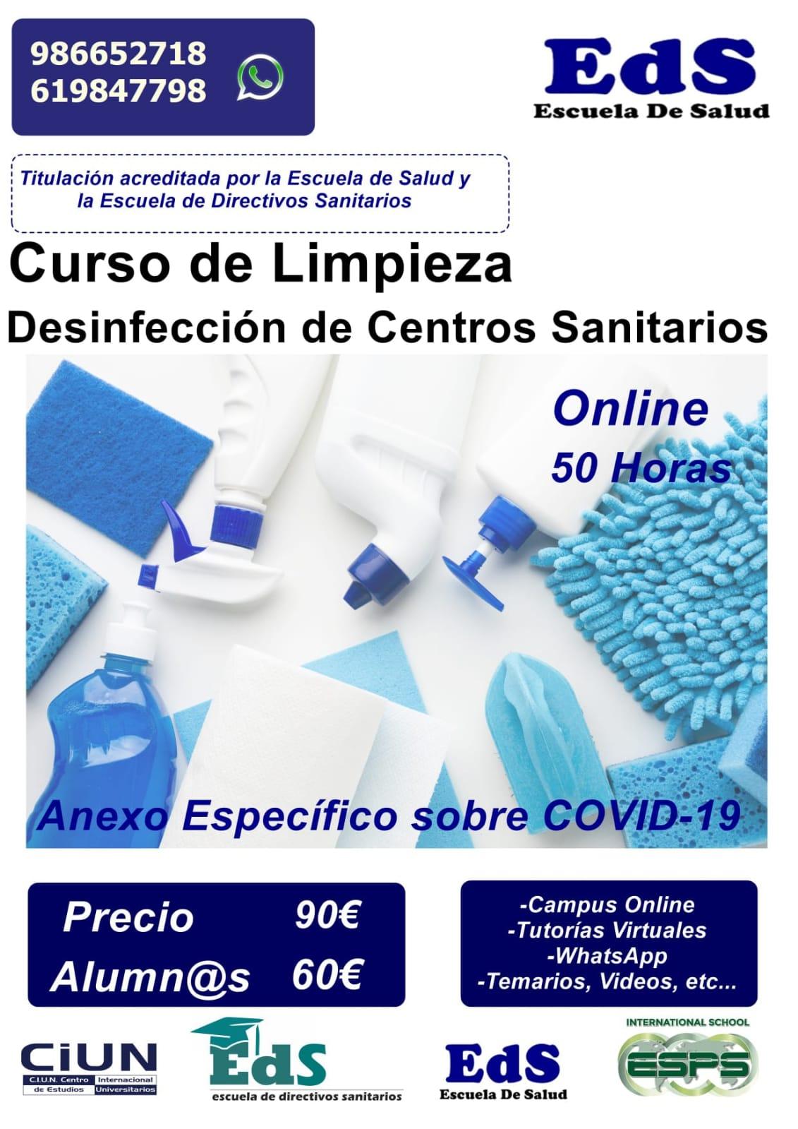 Curso especial COVID 19 Limpieza y desinfeccion de centros sanitarios